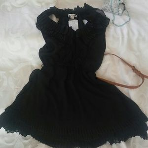Double Zero Black ruffled Cocktail Dress BLACK S